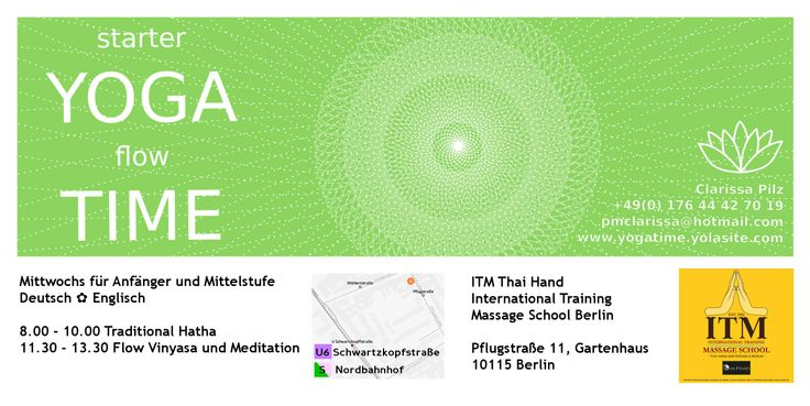 YOGA CLASS INVITE!  I'm giving a yoga class in Berlin Mitte near Schwarzkopfstraße (U6) on April 23, 2014 at 10 a.m.  It will be my first yoga session, so please be patient with me as I begin teaching.  I plan to do a free class, free flow style yoga with dance, asana, and joy. I would love to see your lovely faces there.  Class will be in German and English.  Please bring your own yoga mat, if you have one!  This is the flyer for my regular classes thereafter.