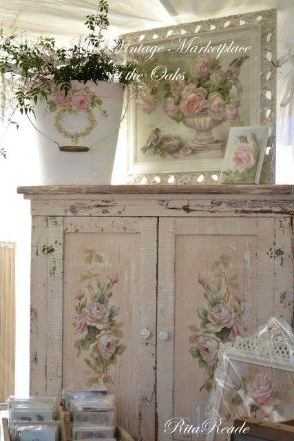 Chippy Shabby Rose Cabinet & Art via Chateau De Fleurs