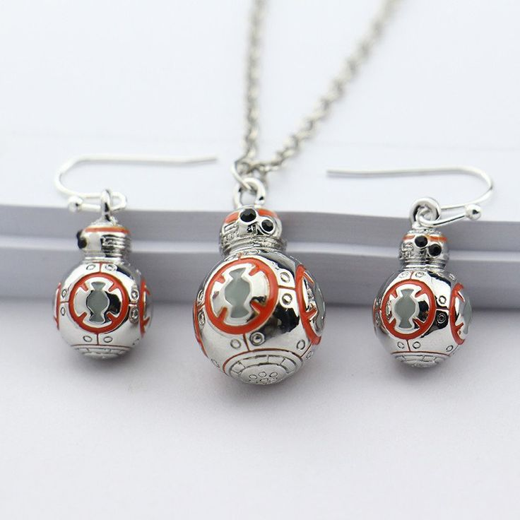 FREE SHIPPING - Jewelry Sets Style:Necklace/Earrings - Meterial:Crystals - Metal Type:Silver Plated - Pendant Color:Orange Enamel - Movie Name:Star wars/the Force Awakens - Necklace Pendant Size:2cm x