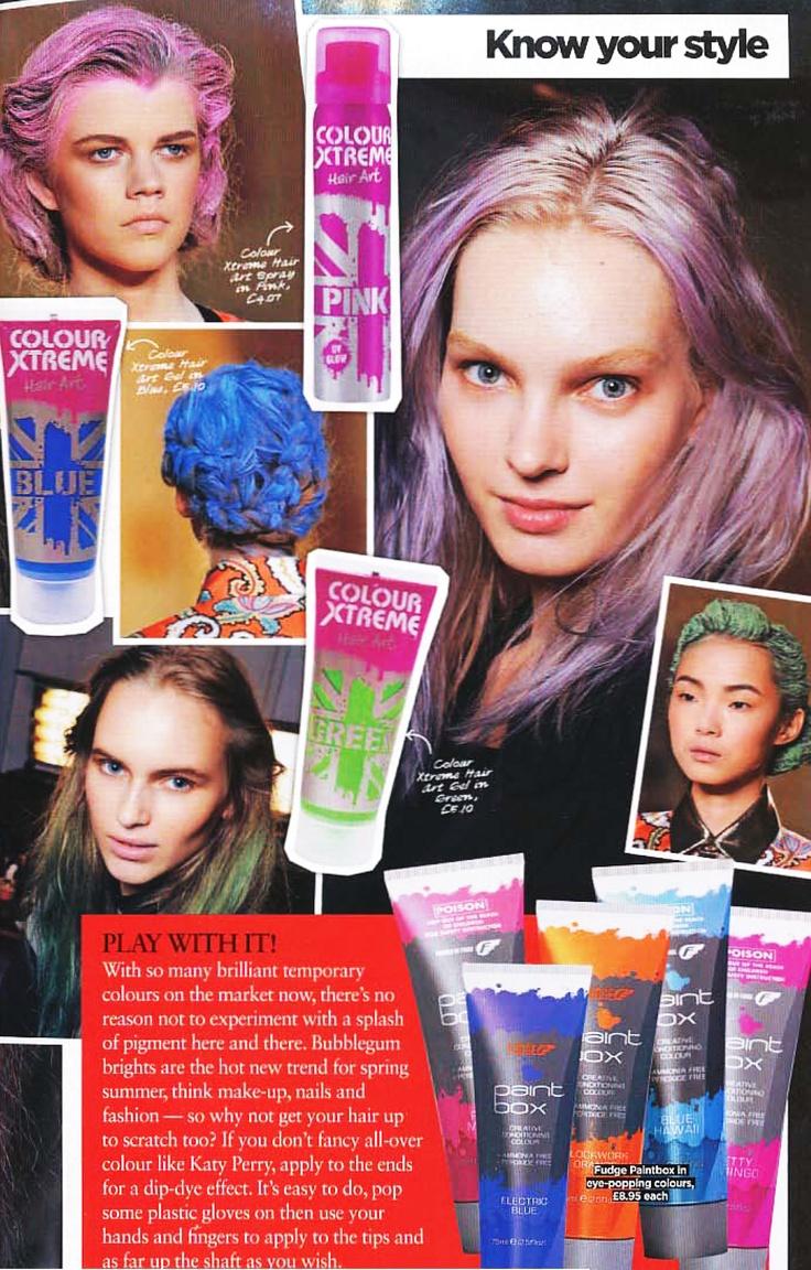 Experiment with colour - Fudge Paintbox! (HAIR magazine)