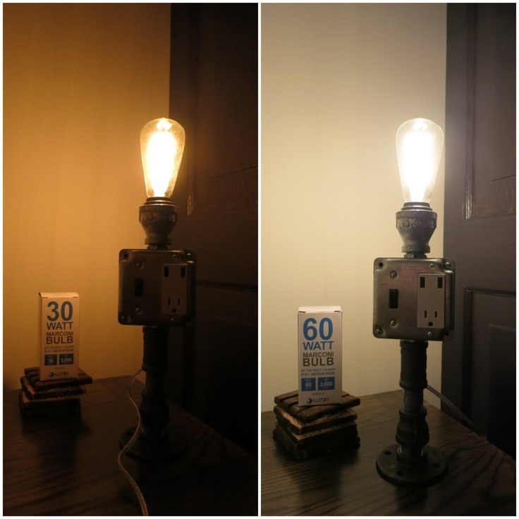 Industrial chic pipe lamp with usb outlet