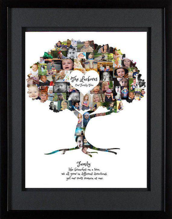 Stammbaum Collage | Stammbaum-Wand-Kunst | Stammbaum Druck | Stammbaum Kunst | Stammbaum Geschenk | Foto-Collage-Geschenk | Vatertagsgeschenk