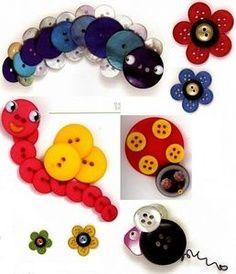 Se puede usar botones para crear animalitos y flores con los más chicos.