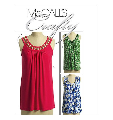 ***McCall's M5586 Pattern - Sleeveless Tops***MISSES' TOPS: Loose fitting tops have self-faced yoke, gathered front and purchased bias tape finished armhole; tops A, B have gathered back; purchased metallic, plastic or acrylic jewel stones, flat sequins or beads to creatively embellish yokes.
