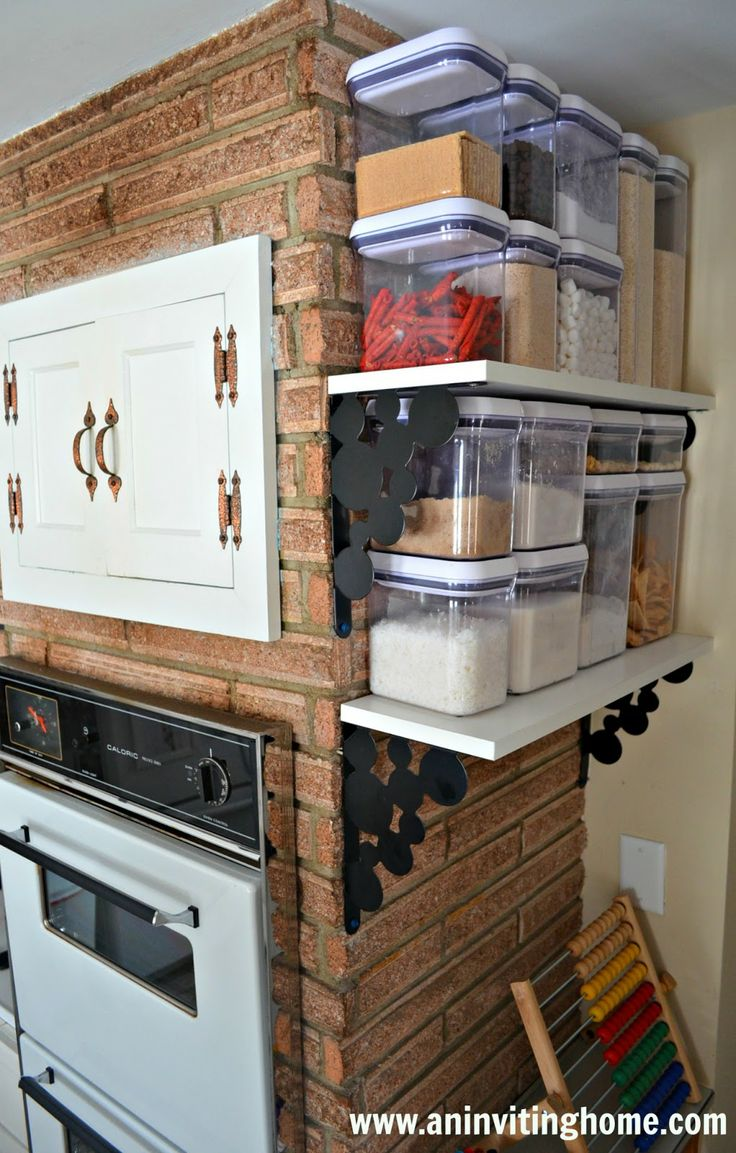 No Pantry But Wall Mount Shelves Allow For Food Storage. Organized KitchenKitchen  PantrySmall ...