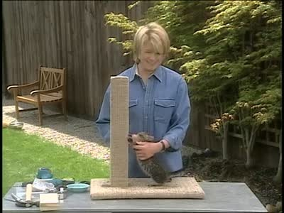 Martha Stewart demonstrates how to make a scratching post for cats.