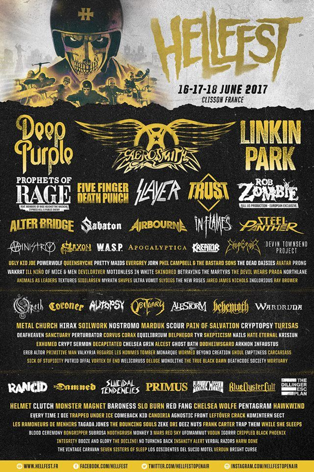 Hellfest (June 16-19, 2017) will be bringing some serious classic metal/rock to France this year. Previously announced Aerosmith will now be joined by Deep Purple, Steel Panther, Rob Zombie, Slayer, Ministry, Rancid, Suicidal Tendencies, and Blue Oyster Cult. And Ugly Kid Joe.  Hellfest is held in the small town of Clisson. Three day tickets are currently sold out.