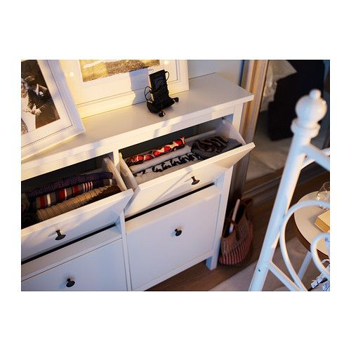 HEMNES Shoe cabinet with 4 compartments, white   Shoe cabinet, Shoes and Hemnes