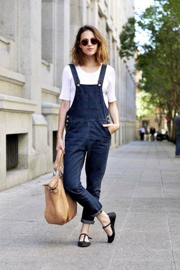 7 Casual Cool Looks With Dark Denim Overalls // wavy long bob & t-step flats #style #fashion #hair