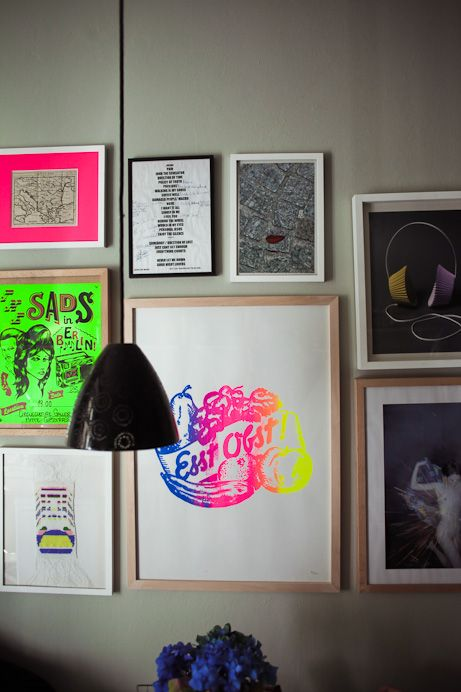 Different view of the same 'neon gallery'.    Freunde von Freunden — Sarah Illenberger — Illustratorin, Apartment, Berlin - Prenzlauer Berg —