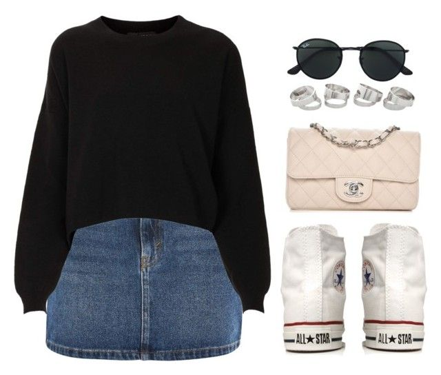 Denim Skirt by vany-alvarado on Polyvore featuring polyvore fashion style Topshop Converse Chanel Ray-Ban clothing