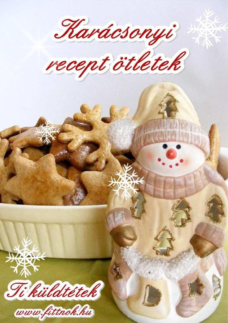 http://issuu.com/wnora/docs/karacsonyireceptekkonyv/1 Karácsonyi recept ötletek Karácsonyi recept ötletek, - Ti küldtétek karácsonyi sütemények. 27 recept az ünnepi alkalmakra.