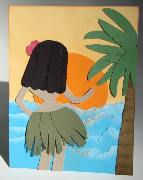 Qbee's Quest: Hula Girl Birthday Card  (body is butterfly punch)