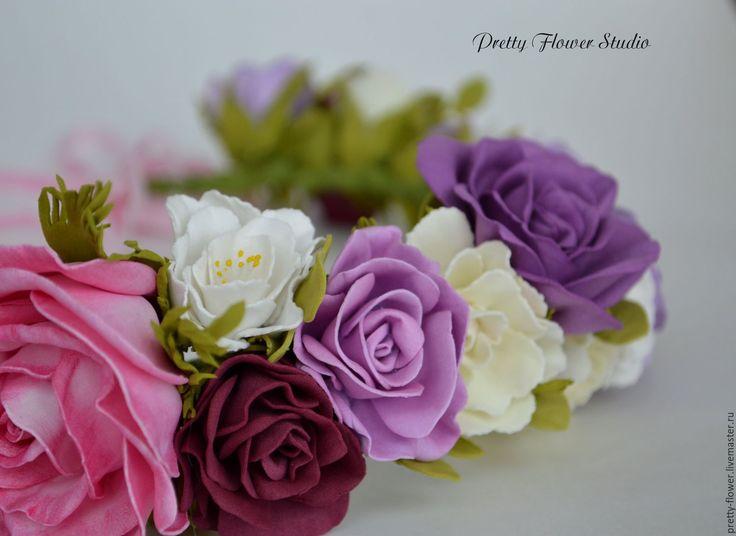 Купить Венок для красотки, цветы из фоамирана - венок, венок на голову, венок из цветов, венок для фотосессии