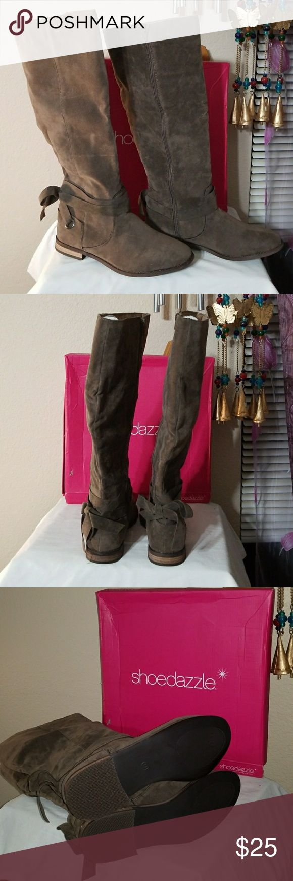 Brown faux leather high boots Brown faux leather high boots size 9 tried on once but my legs are too chunky, new with no tags Shoe Dazzle Shoes Heeled Boots