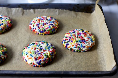 Funfetti cookies! From Smitten Kitchen. Fabulous rolled in sugar. Uses cream cheese and suggests almond extract