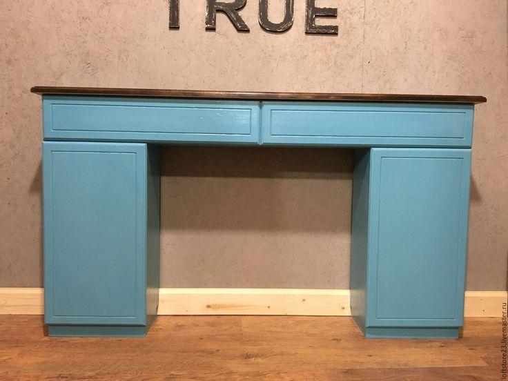 Купить Туалетный столик AZURE. - тёмно-бирюзовый, стол, столик, столик из дерева, туалетный столик
