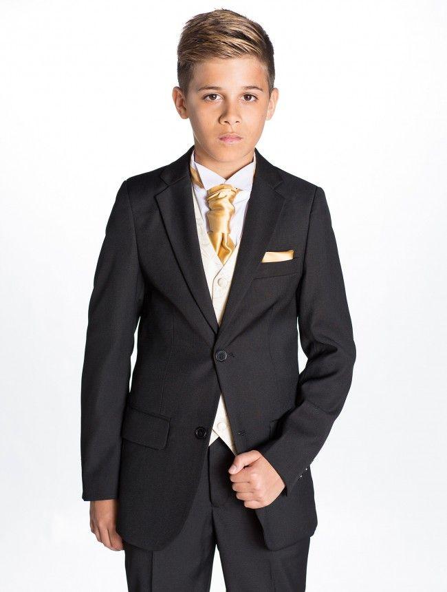 Boys black suit  Longer hair on top