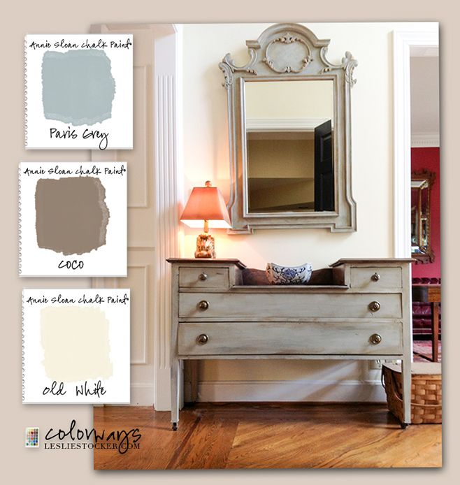 Colorways with Leslie Stocker » Vintage Dressing Table Annie Sloan Chalk Paint®. Paris Grey. Coco. Old White.