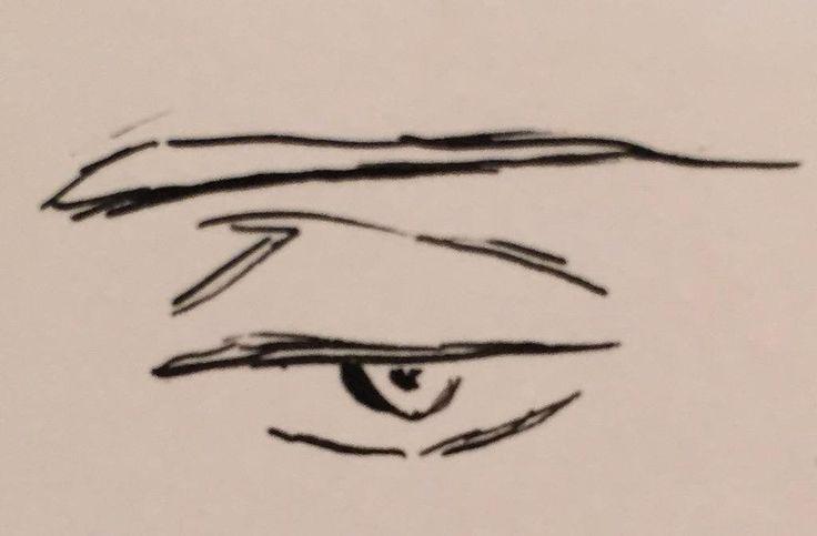 ためにならない矢代の目の描き方。雑ですが。眉は平行もしくは下げ気味。二重というより骨のくぼみ。眠そうな目にするため目頭から少し山を作り気持ち下げつつ目尻でひきます。目の中はほぼ書き込まず。情がなさそうになるので。目の下は丸く。【ヨ】