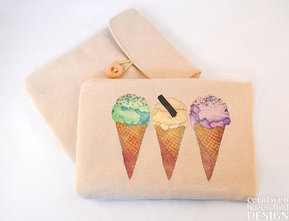 Ice Cream Digital Media Case ipad Case Kindle Case Tablet Case Padded Sleeve Protective Case by ceridwenDESIGN http://ift.tt/29wR3JI