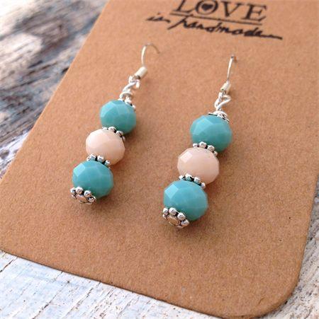 Blue and cream crystal cut , ocean inspired earrings