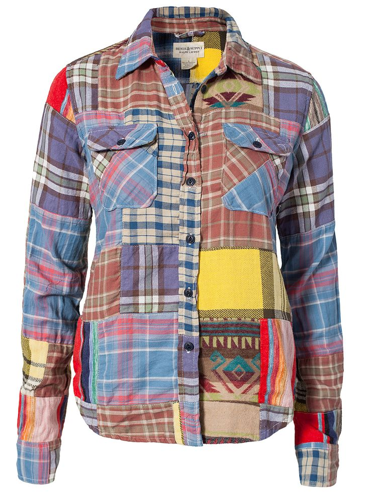 Patchwork Shirt - Denim & Supply Ralph Lauren - Multicolor - Paitapuserot & Kauluspaidat - Vaatteet - Nainen - Nelly.com