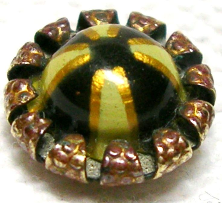 ANTIQUE EDWARDIAN TEXTURED BRASS & IVORY, GOLD & BLACK CELLULOID WC BUTTON