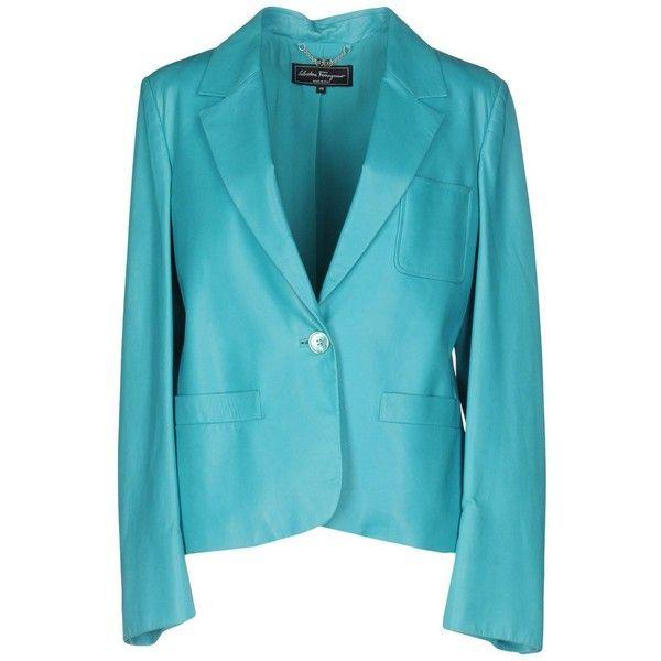 Salvatore Ferragamo Blazer (22.215 ARS) ❤ liked on Polyvore featuring outerwear, jackets, blazers, turquoise, one-button blazer, long sleeve blazer, animal jackets, blazer jacket and blue jackets