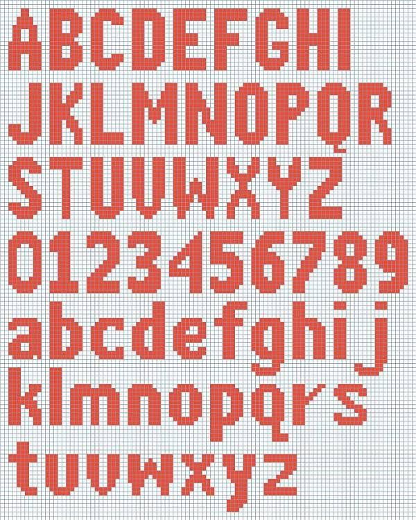 Knitting Pattern Block Letters : Free Knitted Alphabet and Numbers chart courtesy of ...