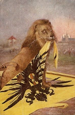 Czech postcard adverts fall of Austria-Hungary empire after WW1 & creation of Czechoslovakia, led by T.G.Masaryk. Two-tailed lion is a heraldic symbol of Czech country, obtained from F. Barbarossa by czech king Vladislav II. for helping him on crusade. In begining of 13th C lion got second tail and it was a symbol of Czech kingdom until 1918, then it became symbol of Czech country.