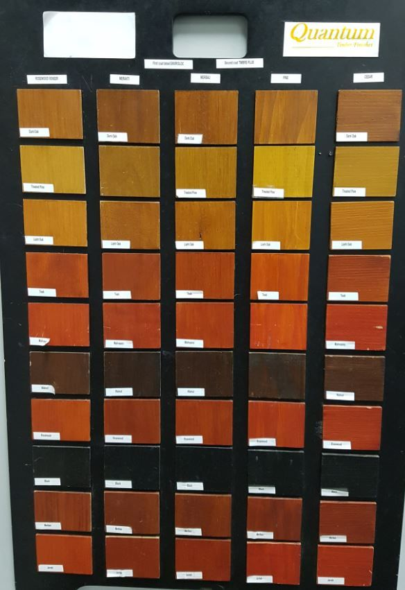 Timber stain colour options