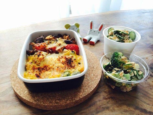 南瓜シチューのドリア、ブロッコリーとレタスゆで卵のサラダ、しらすトマト椎茸のチーズ焼き | かぼちゃ