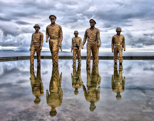"""I shall return"" Words of General Douglas MacArthur in 1942 as he left the Philippine Islands during World War II. MacArthur kept his promise and on oktober 20 1944 he returned on red beach, Palo, Leyte, The Philippines. This memorial reminds the day. Leyte, The Philippines. The Philippines still a forgotten travelers paradise."