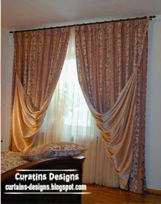 Luxury Drapes Curtain Design For Bedroom, This Luxury Curtain Made Of  Embossed Green Fabric And