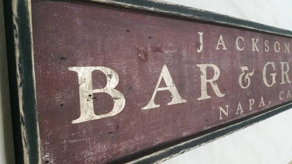 Personalized Bar and Grill Wood Sign Antique Style  As shown: distressed burgundy/umber with gold letters, and a black frame. (can be customized)  -->Painted by brush and distressed by hand in USA -->Personalized, Made to order -->Made with Pine, 3/4 inch -->Rustic vintage style wood