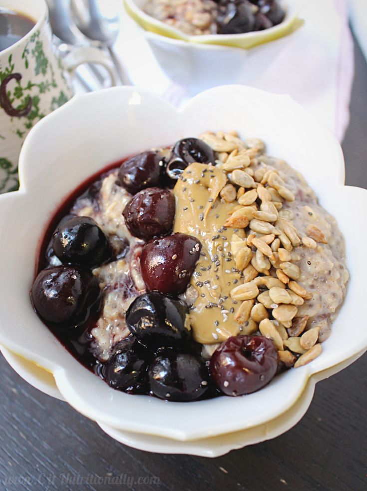 Warm, gooey and naturally sweet, this Double Cherry Oatmeal Bowl is a nourishing start to your day!