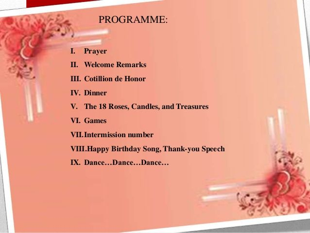 sample of programs for events