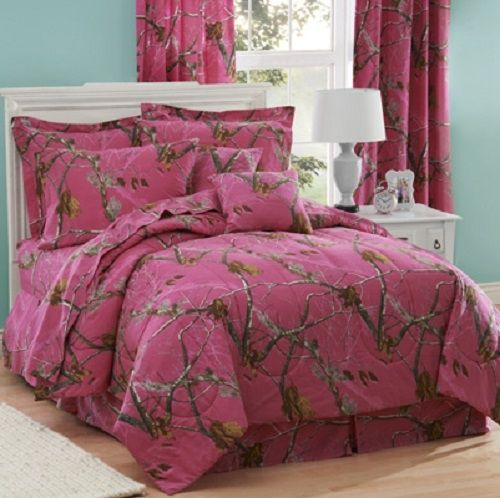Big Savings on Realtree AP Hot Pink Fuchsia XL Twin Camo Comforters. Matching camouflage sheet sets, pillow cases, pillow shams, bedskirts. Machine Washable. Sent directly from Manufacturer.