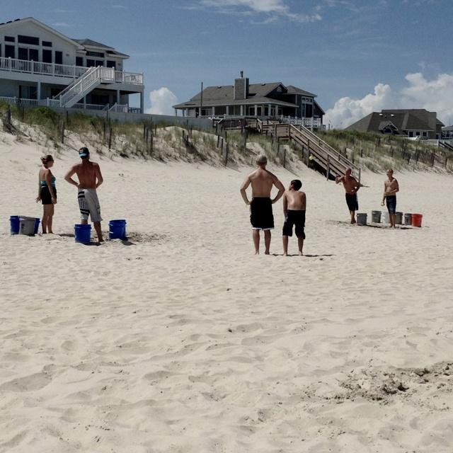 Beach beer pong! Tennis balls and gallon buckets! GENIUS!!!!!!!