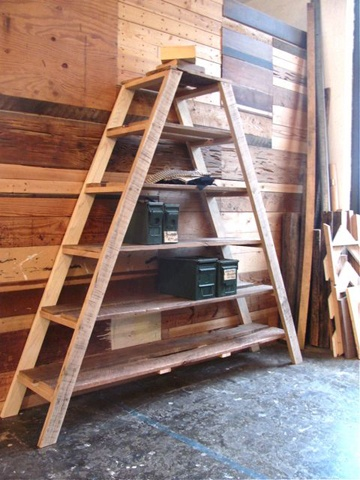 ladder shelf/ reclaimed wood