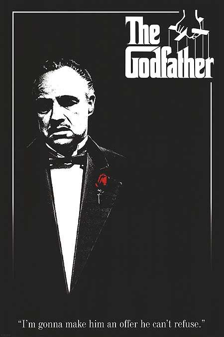 """The Godfather  (1972):  Francis Ford Coppola, Marlon Brando, Al Pacino, James Caan, Robert Duvall, Don Vito Corleone's New York City mafia family gangster drama mob war.  """"What are you worried about? If I wanted to kill you, you'd be dead already. Get in.""""  Simply one of the best dramas ever filmed.  The sequels are also excellent."""
