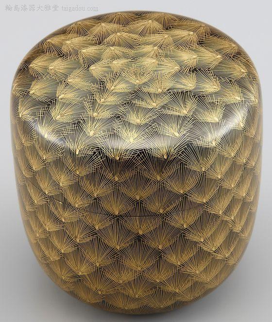輪島塗 棗(なつめ)松彫り詰め沈金, Japanese lacqerware, Wajimanuri, made in Wajima City