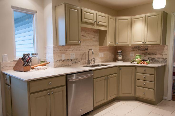 Kitchen Design Khaki Cabinets Vein Cut Travertine