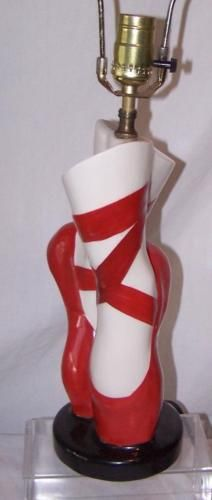 Vintage Ceramic Red Ballet Slipper Ballerina Shoes Novelty Lamp No Shade    What's it worth