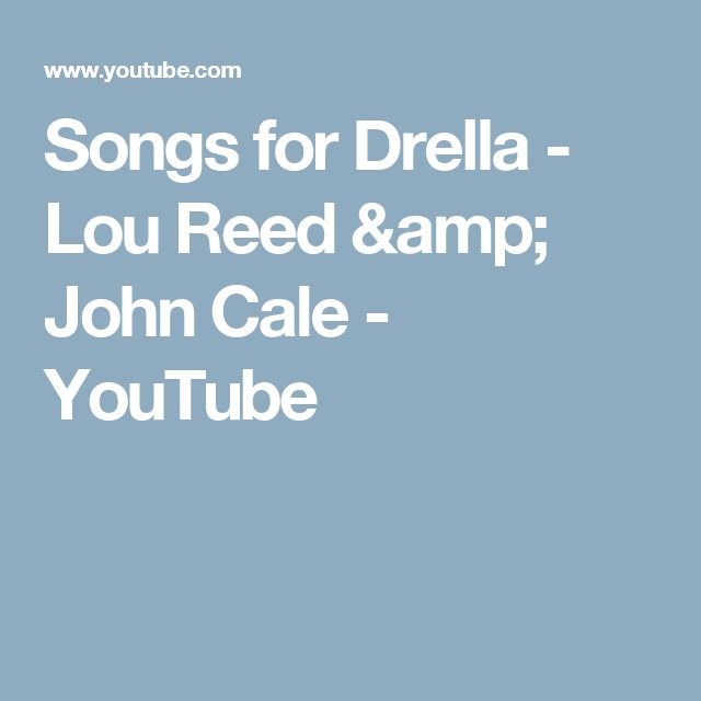 Songs for Drella - Lou Reed & John Cale - YouTube