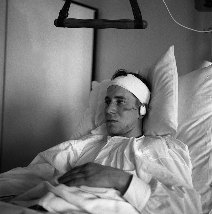 Bobby Charlton lays injured in hospital after the Munich Air Disaster in 1958