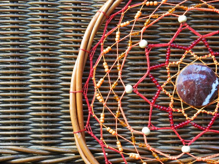 Red Wicker Mandala with jaspe stone. Boho red and orange DreamCatcher