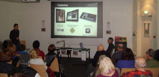 Dédiée à la compréhension des nouvelles technologies par les adultes et les seniors, l'association Ordiseniors a récemment proposé des conférences sur les tablettes numériques et des ateliers dans les bibliothèques de l'agglomération.