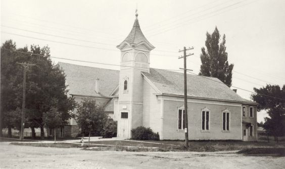 Logan Library - Historic Photo Collection: Old Fifth Ward. Building. Date: about 1935. Address: 530 North 400 East Logan, Utah. The 5th Ward Building of the LDS Church was constructed in 1889. It was in use through 1946, but by 1949 the Fifth Ward had moved locations. Part of the rock building on the left was still in use at Adams Park until December 2011 when it was removed.: